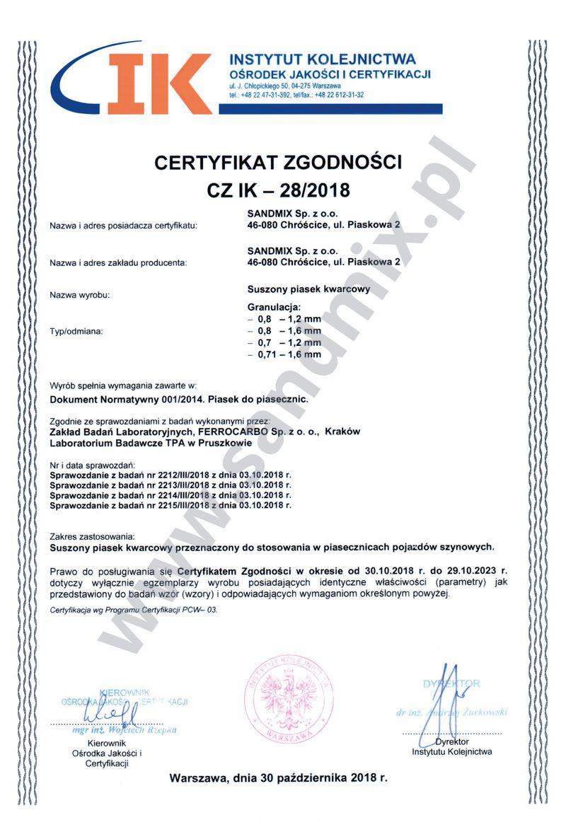 Certyfikat Instytutu Kolejnictwa dla piasków hamulcowych z grupy Sandmix kruszywa techniczne